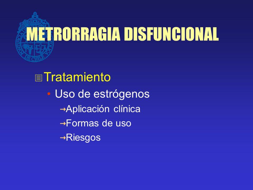 METRORRAGIA DISFUNCIONAL Tratamiento Uso de estrógenos: Sangrado intenso: Estrógenos Conjugados 1,25 mg c /4 hrs por 1 a 2 días, luego 1,25 mg día por 7días, seguido luego de asociación de progesterona o ACO.