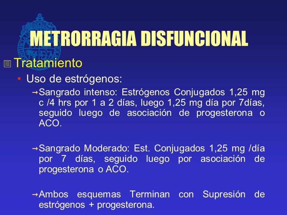 METRORRAGIA DISFUNCIONAL Tratamiento Uso de estrógenos: Sangrado intenso: Estrógenos Conjugados 1,25 mg c /4 hrs por 1 a 2 días, luego 1,25 mg día por