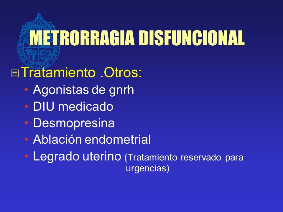 METRORRAGIA DISFUNCIONAL Tratamiento.Otros: Agonistas de gnrh DIU medicado Desmopresina Ablación endometrial Legrado uterino (Tratamiento reservado pa