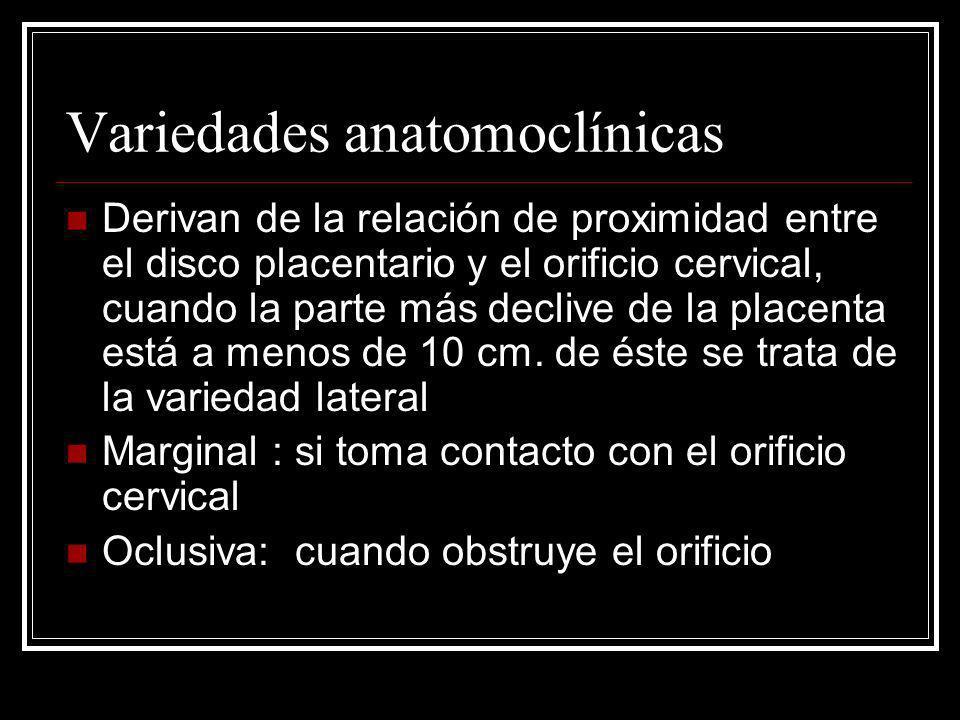 Variedades anatomoclínicas Derivan de la relación de proximidad entre el disco placentario y el orificio cervical, cuando la parte más declive de la p