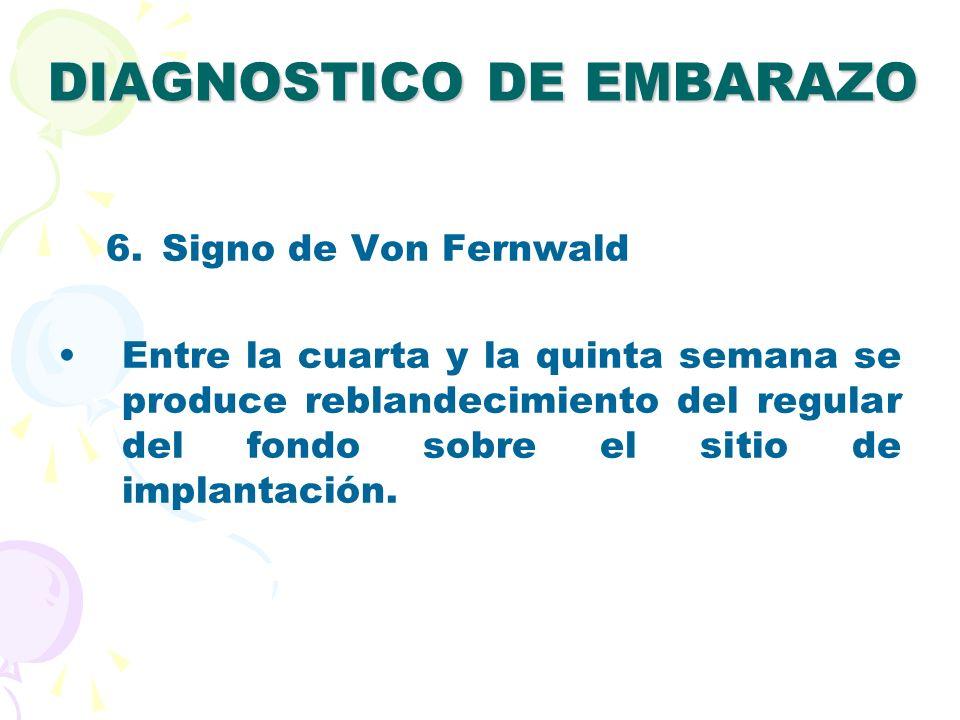 DIAGNOSTICO DE EMBARAZO 6.Signo de Von Fernwald Entre la cuarta y la quinta semana se produce reblandecimiento del regular del fondo sobre el sitio de