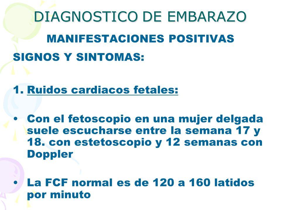DIAGNOSTICO DE EMBARAZO MANIFESTACIONES POSITIVAS SIGNOS Y SINTOMAS: 1.Ruidos cardiacos fetales: Con el fetoscopio en una mujer delgada suele escuchar