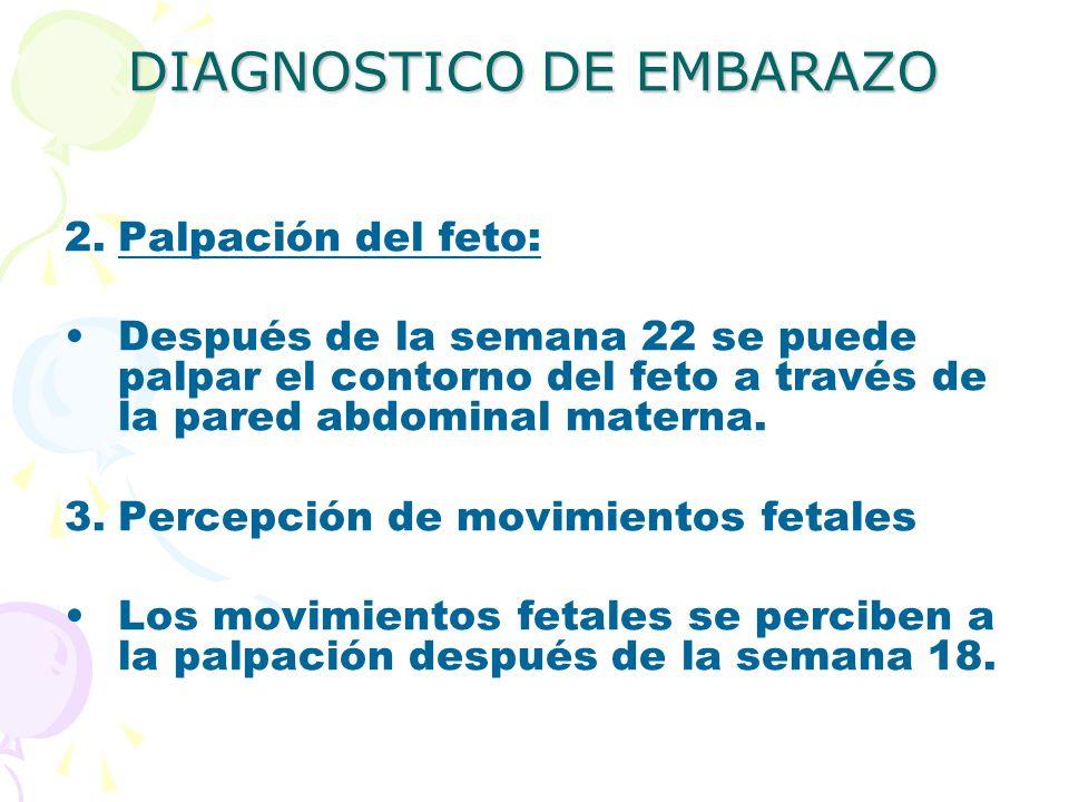 DIAGNOSTICO DE EMBARAZO 2.Palpación del feto: Después de la semana 22 se puede palpar el contorno del feto a través de la pared abdominal materna. 3.P