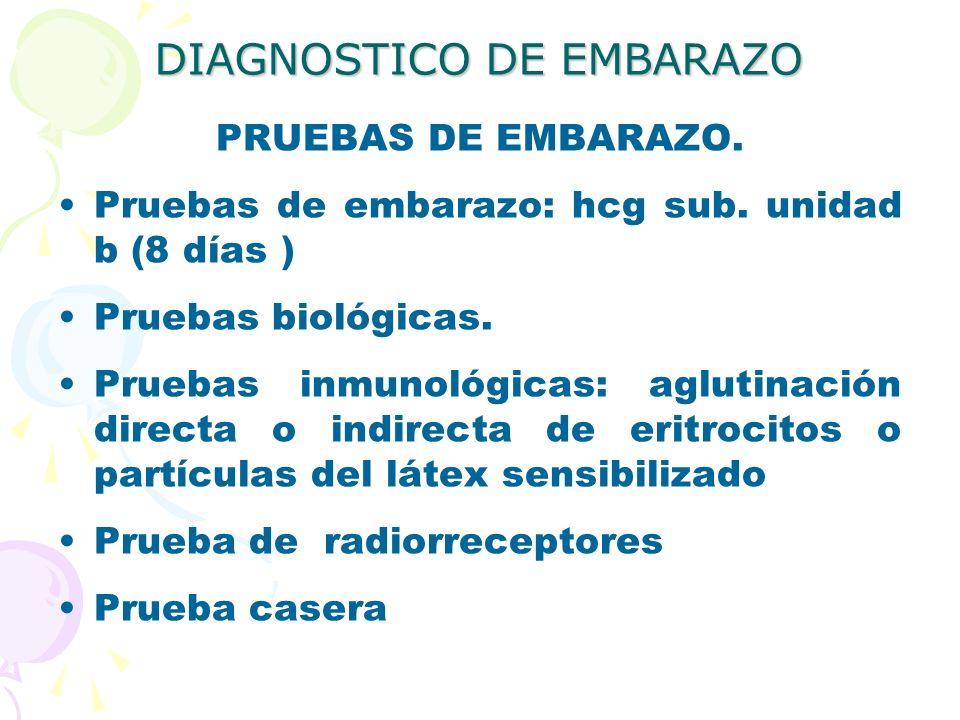 DIAGNOSTICO DE EMBARAZO PRUEBAS DE EMBARAZO. Pruebas de embarazo: hcg sub. unidad b (8 días ) Pruebas biológicas. Pruebas inmunológicas: aglutinación