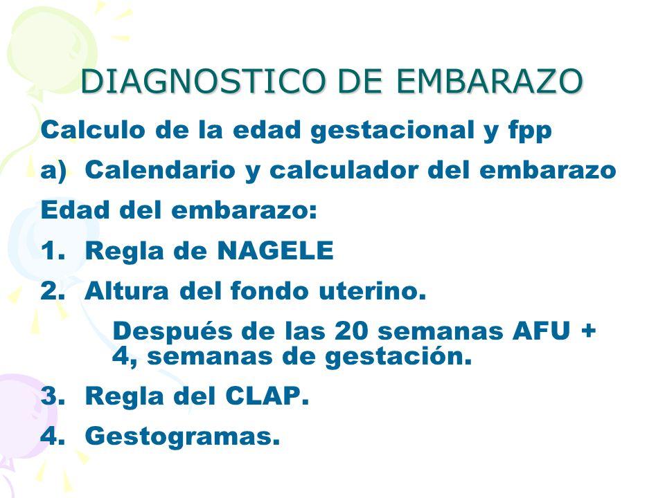 DIAGNOSTICO DE EMBARAZO Calculo de la edad gestacional y fpp a)Calendario y calculador del embarazo Edad del embarazo: 1.Regla de NAGELE 2.Altura del