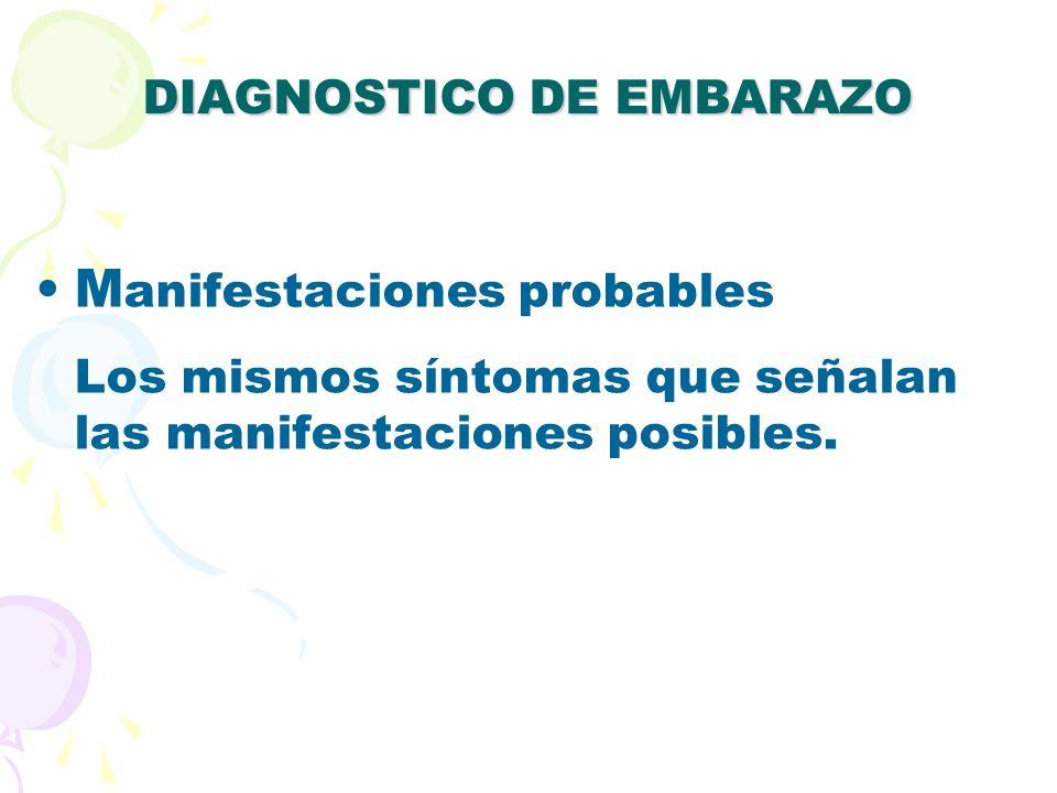 DIAGNOSTICO DE EMBARAZO MANIFESTACIONES PROBABLES: SIGNOS: 1.Organos pélvicos 1.Signo del Chadwick La congestión de los vasos pélvicos producen una coloración azulosa o purpúrea en la vagina y cuello uterino.