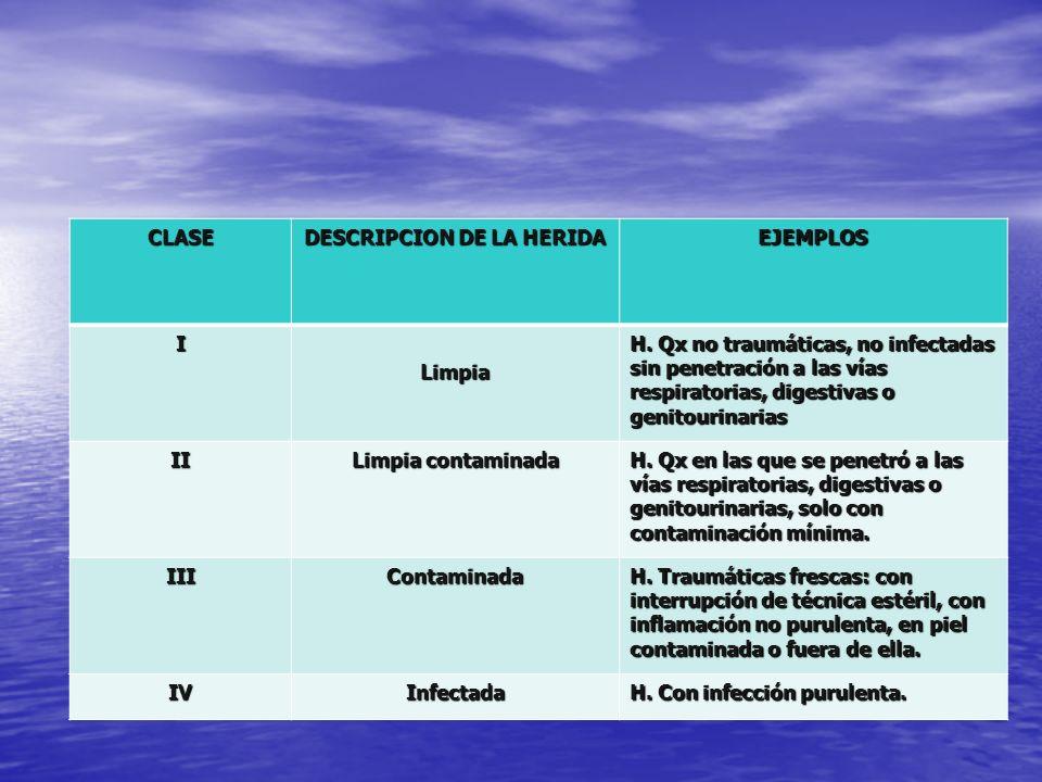 CLASE DESCRIPCION DE LA HERIDA EJEMPLOS I Limpia H. Qx no traumáticas, no infectadas sin penetración a las vías respiratorias, digestivas o genitourin