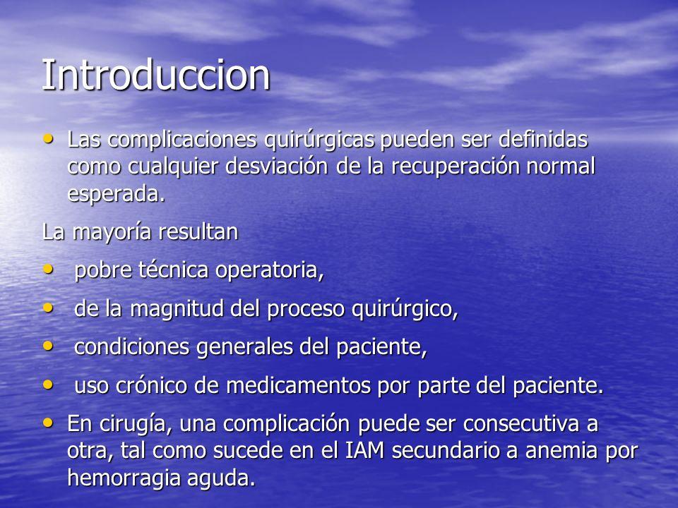 Complicaciones Cardiacas Hipertensión postoperatoria Hipertensión postoperatoria Pos anestesia(20%) Pos anestesia(20%) antecedentes(50%) antecedentes(50%) Isquemia e infarto perioperatorios Isquemia e infarto perioperatorios 50-90% mortalidad 1ra 24h 50-90% mortalidad 1ra 24h Choque cardiógeno Choque cardiógeno 75% mortalidad 75% mortalidad Arritmia e insuficiencia cardiaca congestiva Arritmia e insuficiencia cardiaca congestiva 60-80% 60-80%