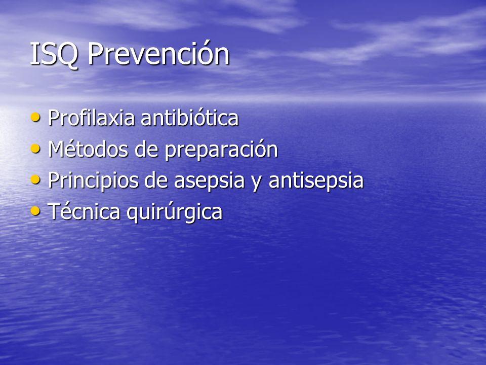 ISQ Prevención Profilaxia antibiótica Profilaxia antibiótica Métodos de preparación Métodos de preparación Principios de asepsia y antisepsia Principi