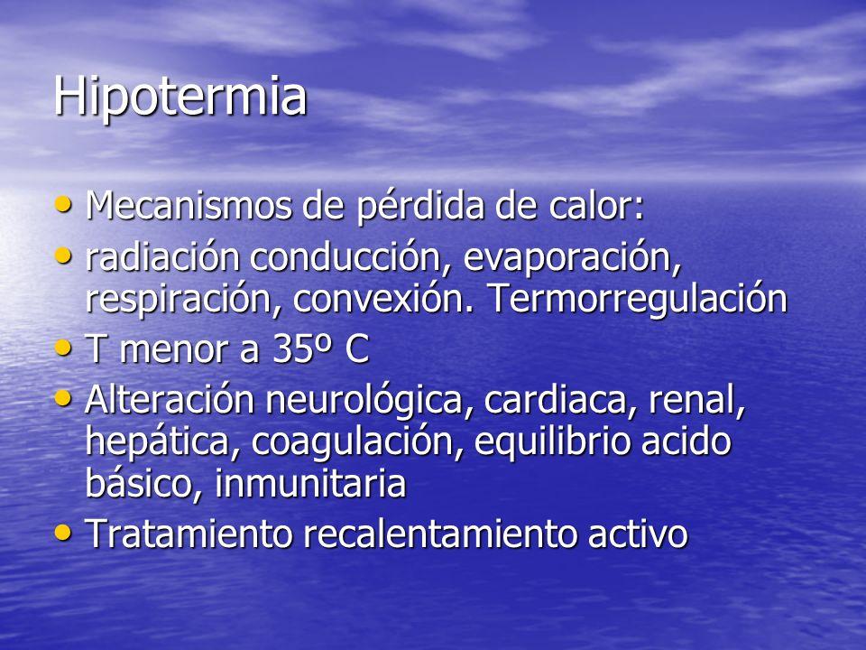 Hipotermia Mecanismos de pérdida de calor: Mecanismos de pérdida de calor: radiación conducción, evaporación, respiración, convexión. Termorregulación