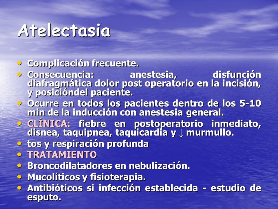 Atelectasia Complicación frecuente. Complicación frecuente. Consecuencia: anestesia, disfunción diafragmática dolor post operatorio en la incisión, y
