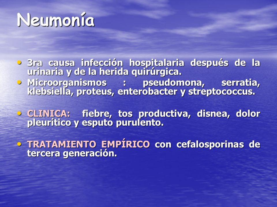 Neumonía 3ra causa infección hospitalaria después de la urinaria y de la herida quirúrgica. 3ra causa infección hospitalaria después de la urinaria y