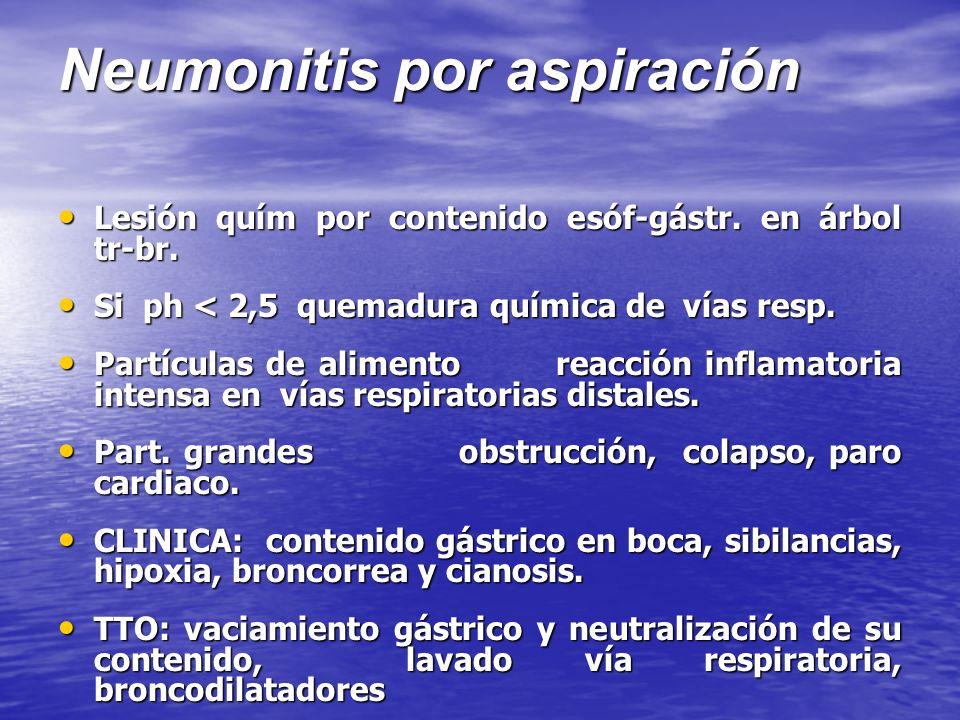Neumonitis por aspiración Lesión quím por contenido esóf-gástr. en árbol tr-br. Lesión quím por contenido esóf-gástr. en árbol tr-br. Si ph < 2,5 quem