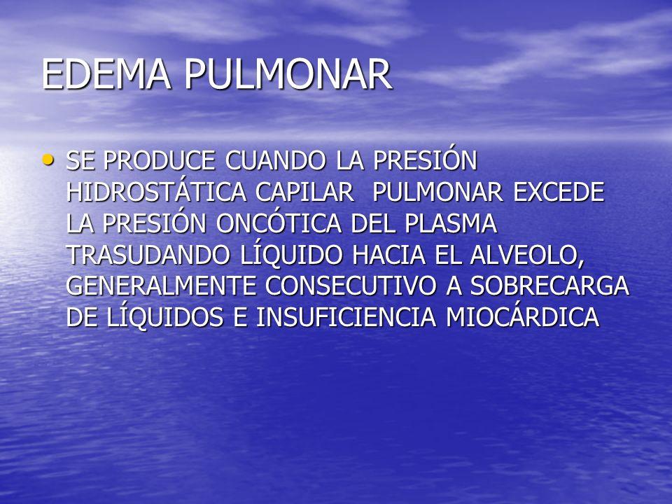 EDEMA PULMONAR SE PRODUCE CUANDO LA PRESIÓN HIDROSTÁTICA CAPILAR PULMONAR EXCEDE LA PRESIÓN ONCÓTICA DEL PLASMA TRASUDANDO LÍQUIDO HACIA EL ALVEOLO, G