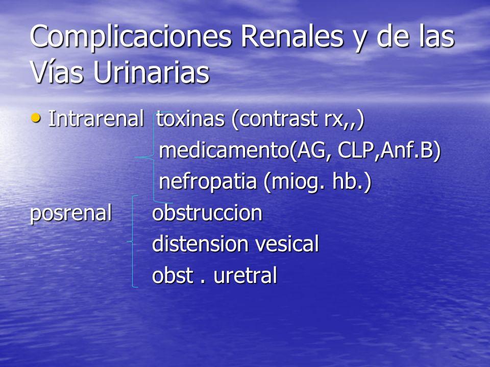 Complicaciones Renales y de las Vías Urinarias Intrarenal toxinas (contrast rx,,) Intrarenal toxinas (contrast rx,,) medicamento(AG, CLP,Anf.B) medica