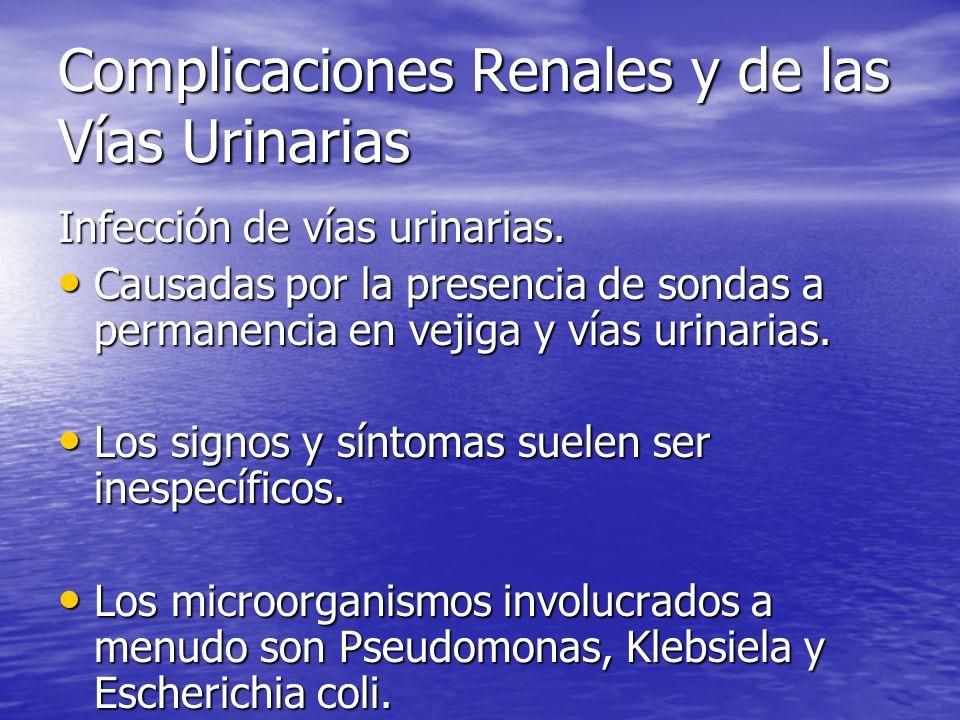 Complicaciones Renales y de las Vías Urinarias Infección de vías urinarias. Causadas por la presencia de sondas a permanencia en vejiga y vías urinari
