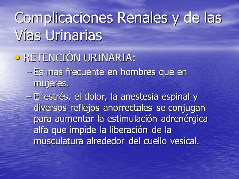 Complicaciones Renales y de las Vías Urinarias RETENCIÓN URINARIA: RETENCIÓN URINARIA: –Es mas frecuente en hombres que en mujeres. –El estrés, el dol