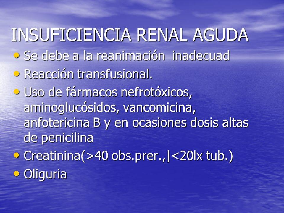 INSUFICIENCIA RENAL AGUDA Se debe a la reanimación inadecuad Se debe a la reanimación inadecuad Reacción transfusional. Reacción transfusional. Uso de