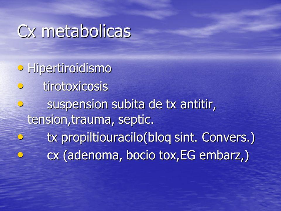 Cx metabolicas Hipertiroidismo Hipertiroidismo tirotoxicosis tirotoxicosis suspension subita de tx antitir, tension,trauma, septic. suspension subita