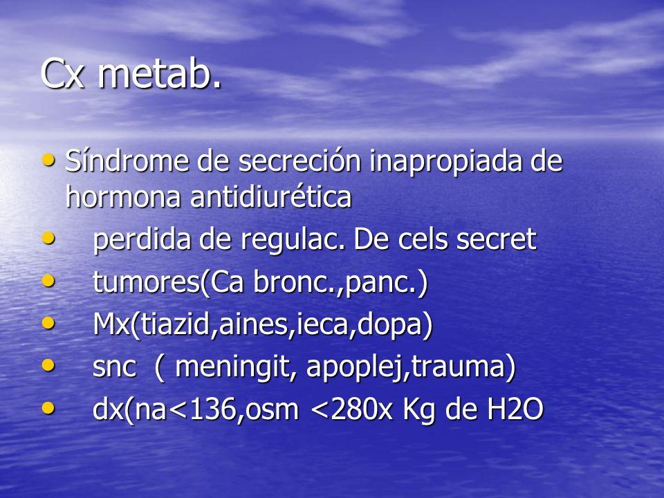 Cx metab. Síndrome de secreción inapropiada de hormona antidiurética Síndrome de secreción inapropiada de hormona antidiurética perdida de regulac. De