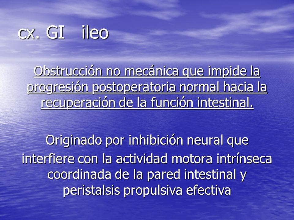 cx. GI ileo Obstrucción no mecánica que impide la progresión postoperatoria normal hacia la recuperación de la función intestinal. Originado por inhib