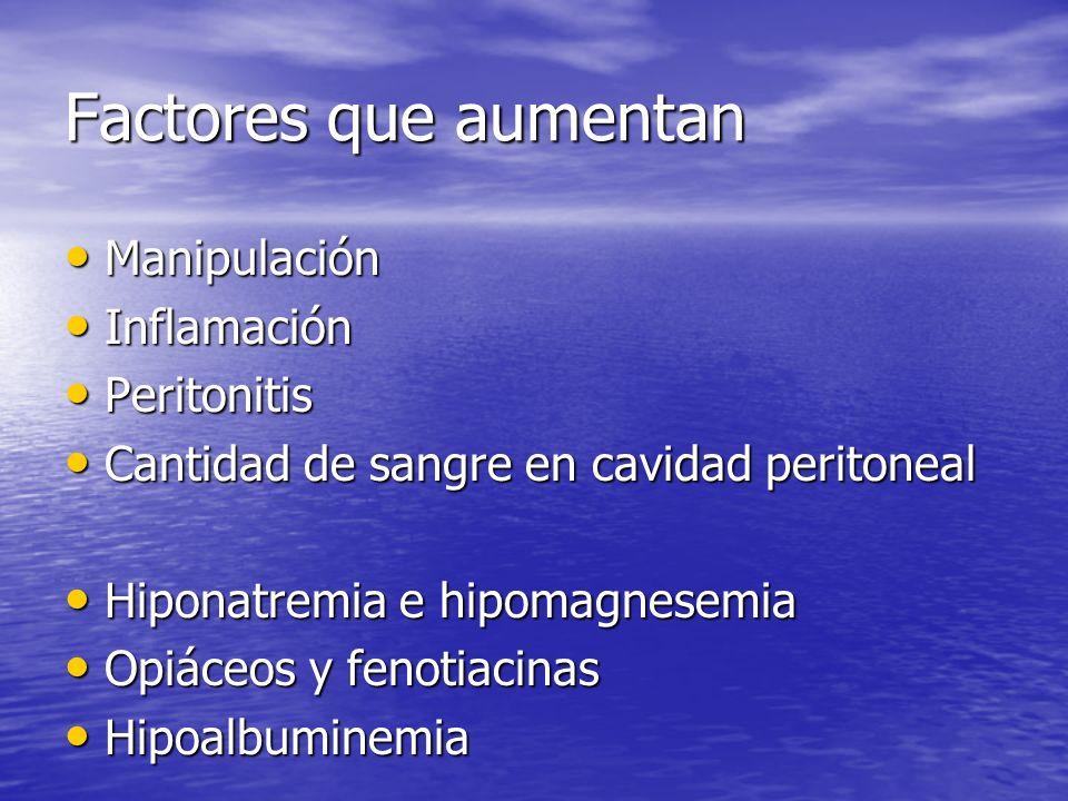 Factores que aumentan Manipulación Manipulación Inflamación Inflamación Peritonitis Peritonitis Cantidad de sangre en cavidad peritoneal Cantidad de s