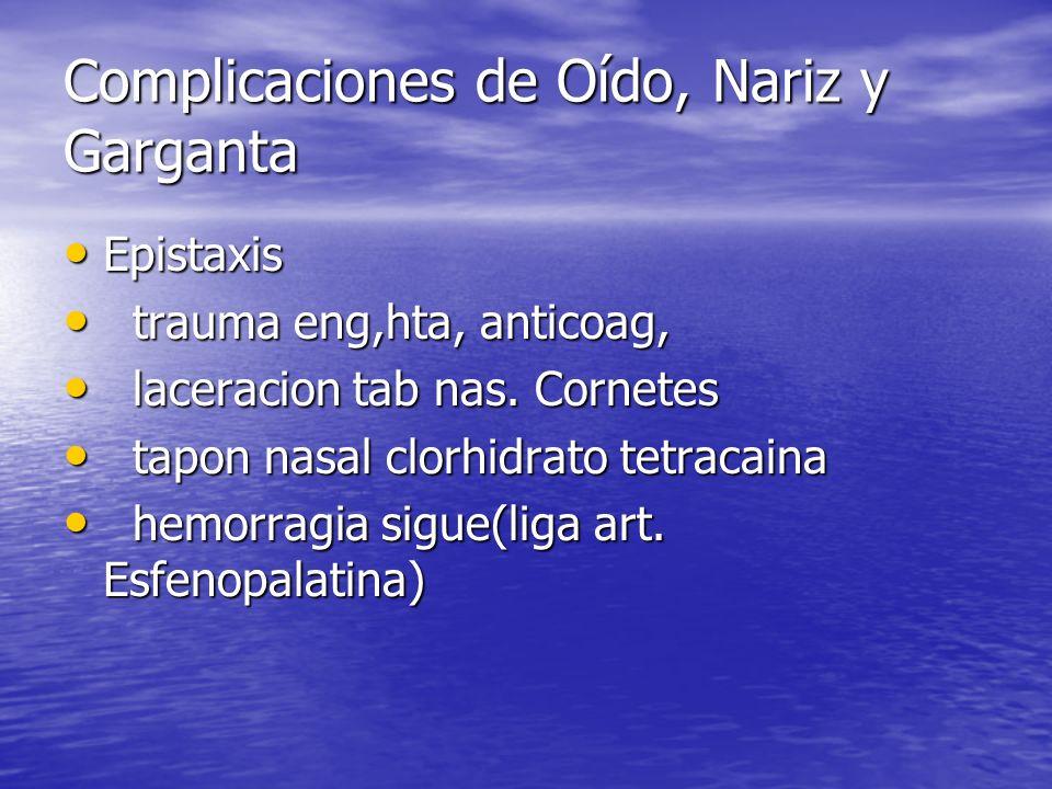 Complicaciones de Oído, Nariz y Garganta Epistaxis Epistaxis trauma eng,hta, anticoag, trauma eng,hta, anticoag, laceracion tab nas. Cornetes laceraci