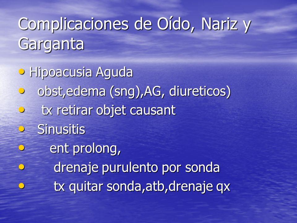 Hipoacusia Aguda Hipoacusia Aguda obst,edema (sng),AG, diureticos) obst,edema (sng),AG, diureticos) tx retirar objet causant tx retirar objet causant
