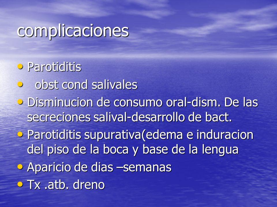 complicaciones Parotiditis Parotiditis obst cond salivales obst cond salivales Disminucion de consumo oral-dism. De las secreciones salival-desarrollo