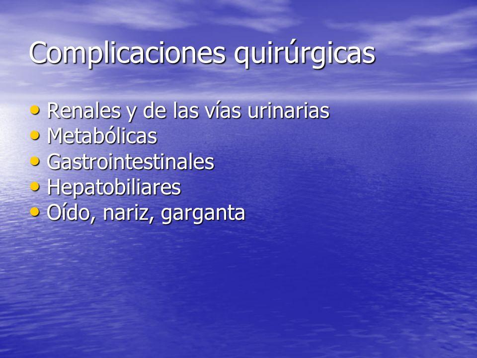 Complicaciones Renales y de las Vías Urinarias RETENCIÓN URINARIA: RETENCIÓN URINARIA: –Es mas frecuente en hombres que en mujeres.