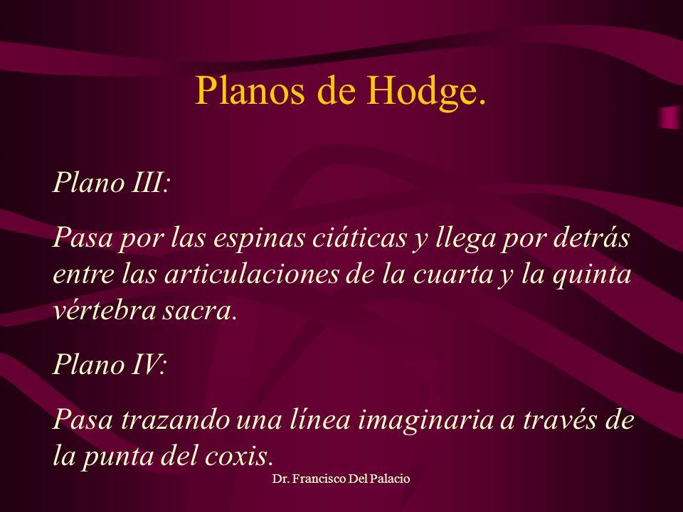 Planos de Hodge. Dr. Francisco Del Palacio Plano III: Pasa por las espinas ciáticas y llega por detrás entre las articulaciones de la cuarta y la quin