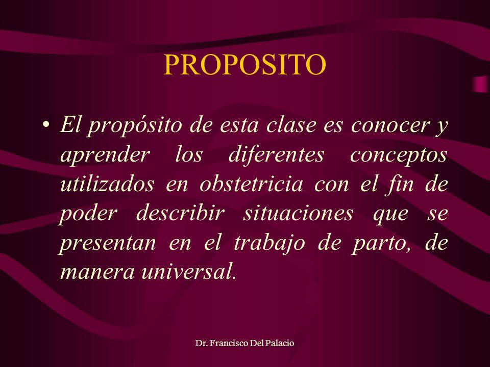 PROPOSITO El propósito de esta clase es conocer y aprender los diferentes conceptos utilizados en obstetricia con el fin de poder describir situacione