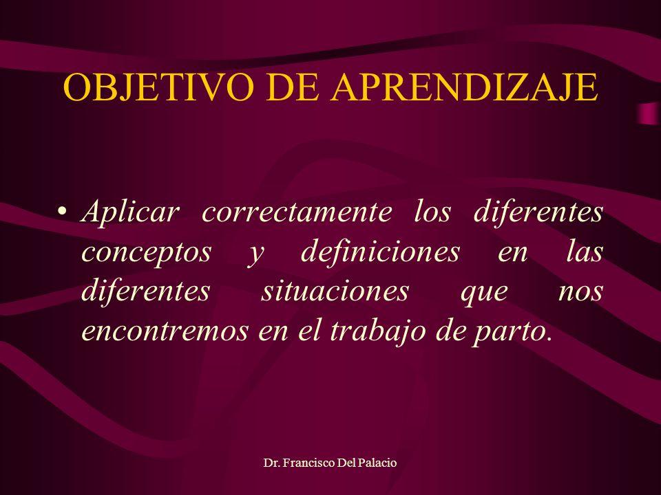 OBJETIVO DE APRENDIZAJE Aplicar correctamente los diferentes conceptos y definiciones en las diferentes situaciones que nos encontremos en el trabajo
