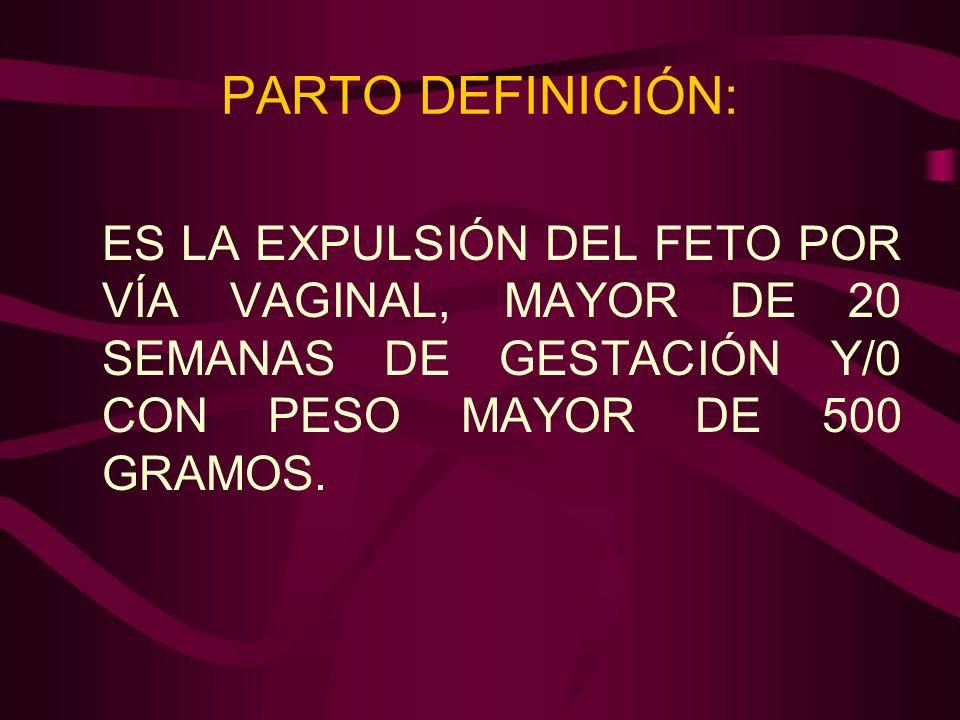PARTO DEFINICIÓN: ES LA EXPULSIÓN DEL FETO POR VÍA VAGINAL, MAYOR DE 20 SEMANAS DE GESTACIÓN Y/0 CON PESO MAYOR DE 500 GRAMOS.