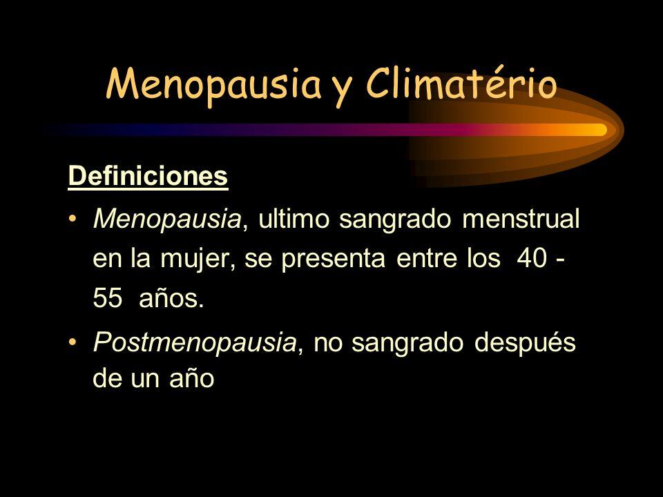 DEFINICIONES La post menopausia es la etapa comprendida entre el establecimiento definitivo de la menopausia y el final del climaterio, alrededor de l
