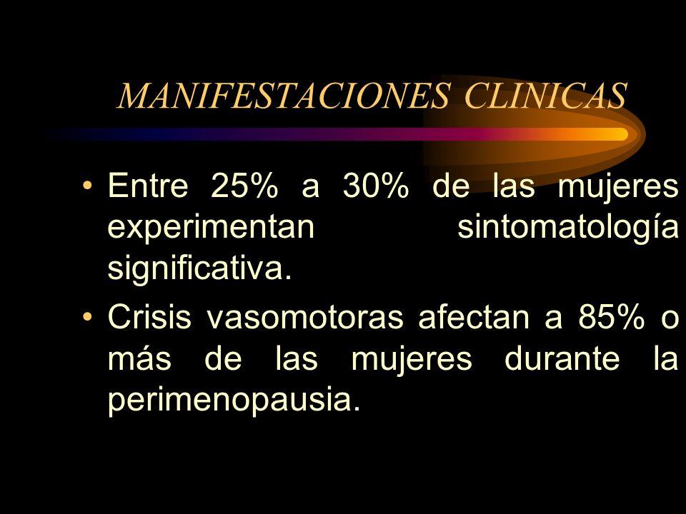 MANIFESTACIONES CLINICAS La depleción hormonal comienza en el período premenopáusico, se caracteriza por diversos trastornos menstruales que comprende
