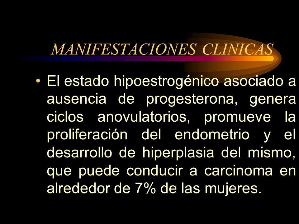 MANIFESTACIONES CLINICAS Entre 25% a 30% de las mujeres experimentan sintomatología significativa. Crisis vasomotoras afectan a 85% o más de las mujer