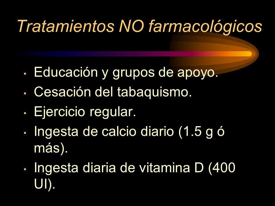 TERAPIA NO HORMONAL Calcio Vitamina D Bifosfonatos Calcitonina Fluoruro sódico