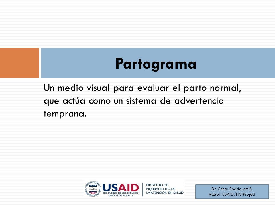 Un medio visual para evaluar el parto normal, que actúa como un sistema de advertencia temprana. Partograma Dr. César Rodríguez B. Asesor USAID/HCIPro