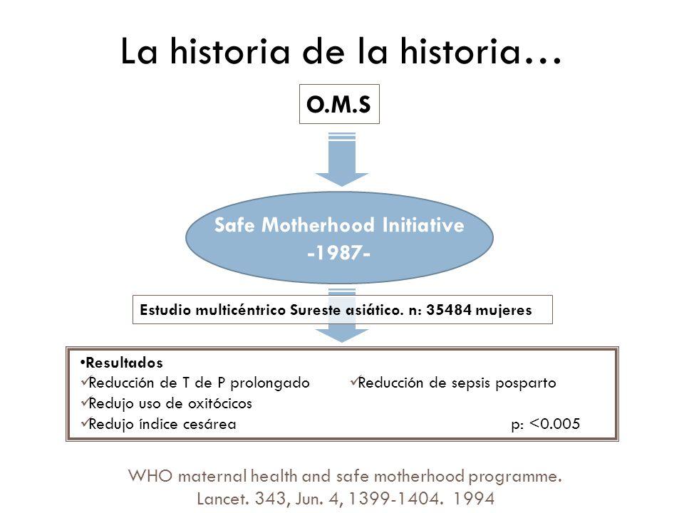 La historia de la historia… O.M.S Safe Motherhood Initiative -1987- WHO maternal health and safe motherhood programme. Lancet. 343, Jun. 4, 1399-1404.