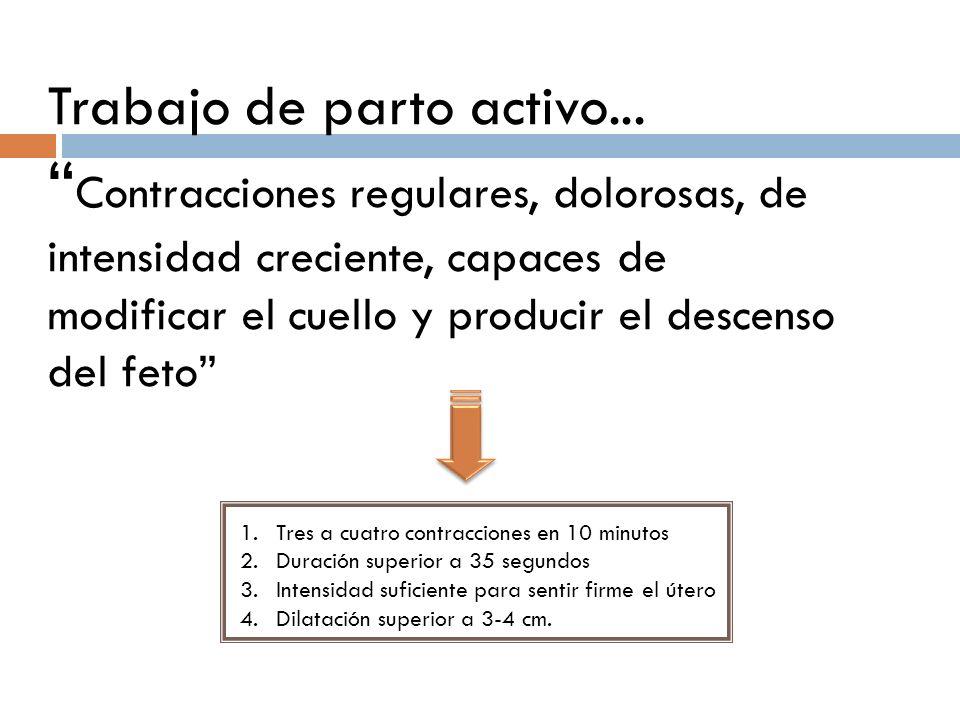 Trabajo de parto activo... Contracciones regulares, dolorosas, de intensidad creciente, capaces de modificar el cuello y producir el descenso del feto