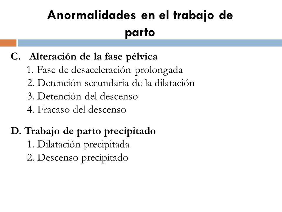 Anormalidades en el trabajo de parto C. Alteración de la fase pélvica 1. Fase de desaceleración prolongada 2. Detención secundaria de la dilatación 3.