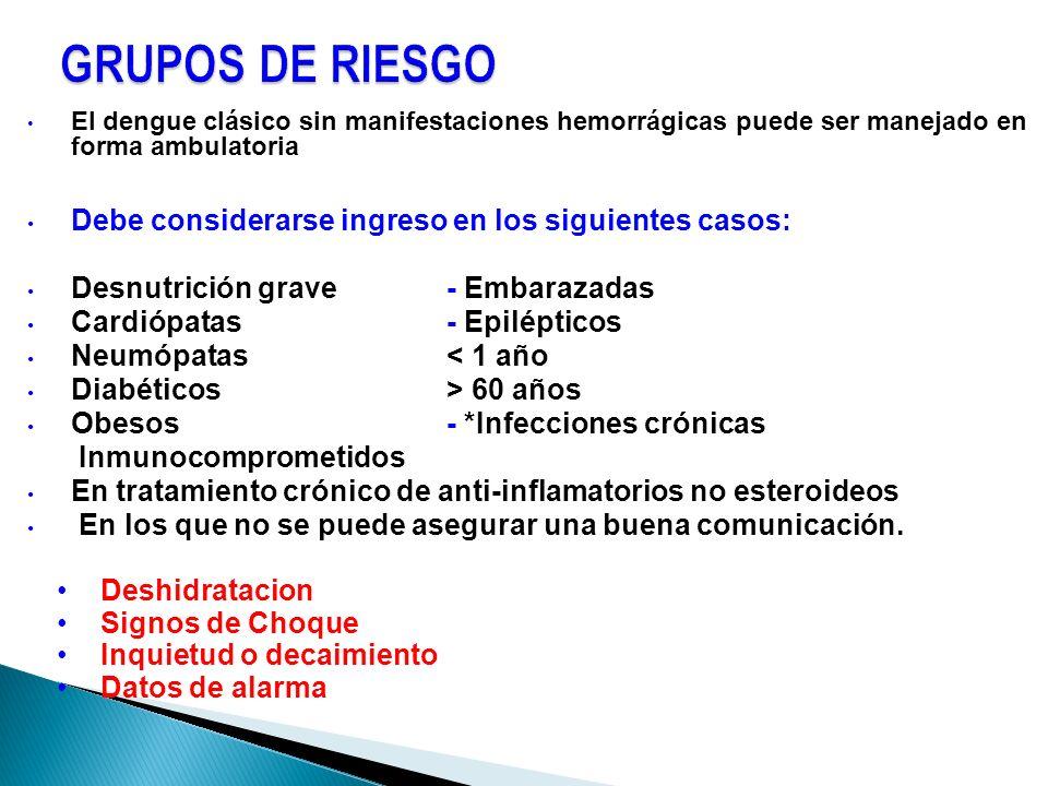 El dengue clásico sin manifestaciones hemorrágicas puede ser manejado en forma ambulatoria Debe considerarse ingreso en los siguientes casos: Desnutri