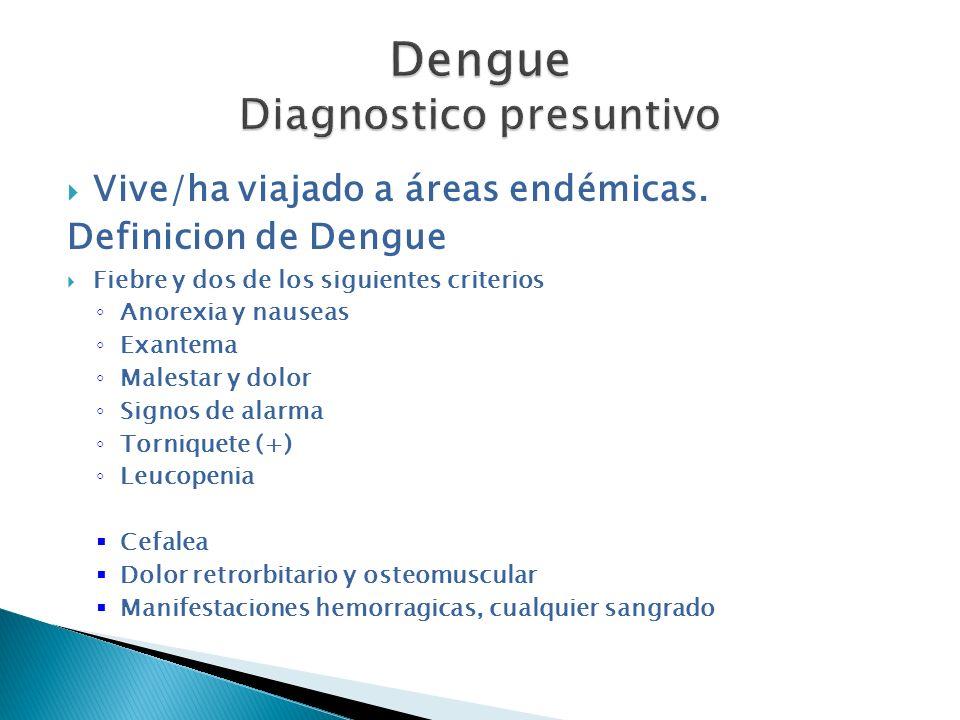 Vive/ha viajado a áreas endémicas. Definicion de Dengue Fiebre y dos de los siguientes criterios Anorexia y nauseas Exantema Malestar y dolor Signos d