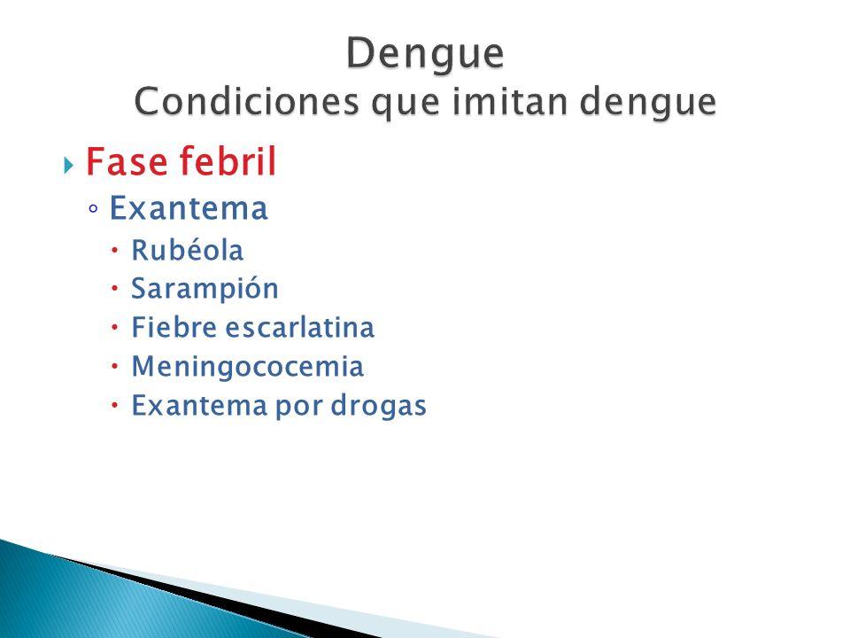 Fase febril Exantema Rubéola Sarampión Fiebre escarlatina Meningococemia Exantema por drogas