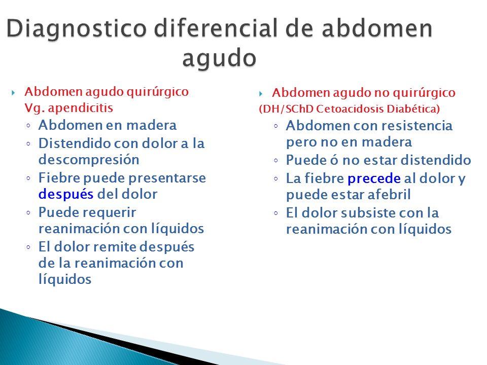 Diagnostico diferencial de abdomen agudo Abdomen agudo quirúrgico Vg. apendicitis Abdomen en madera Distendido con dolor a la descompresión Fiebre pue