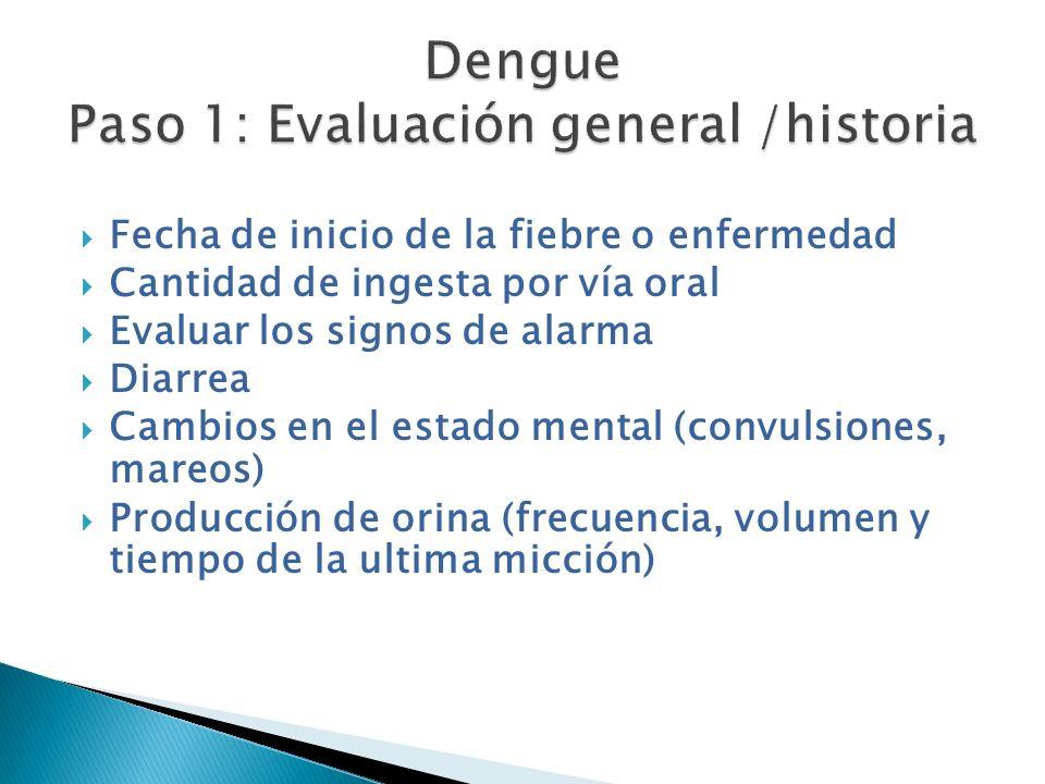 Fecha de inicio de la fiebre o enfermedad Cantidad de ingesta por vía oral Evaluar los signos de alarma Diarrea Cambios en el estado mental (convulsio