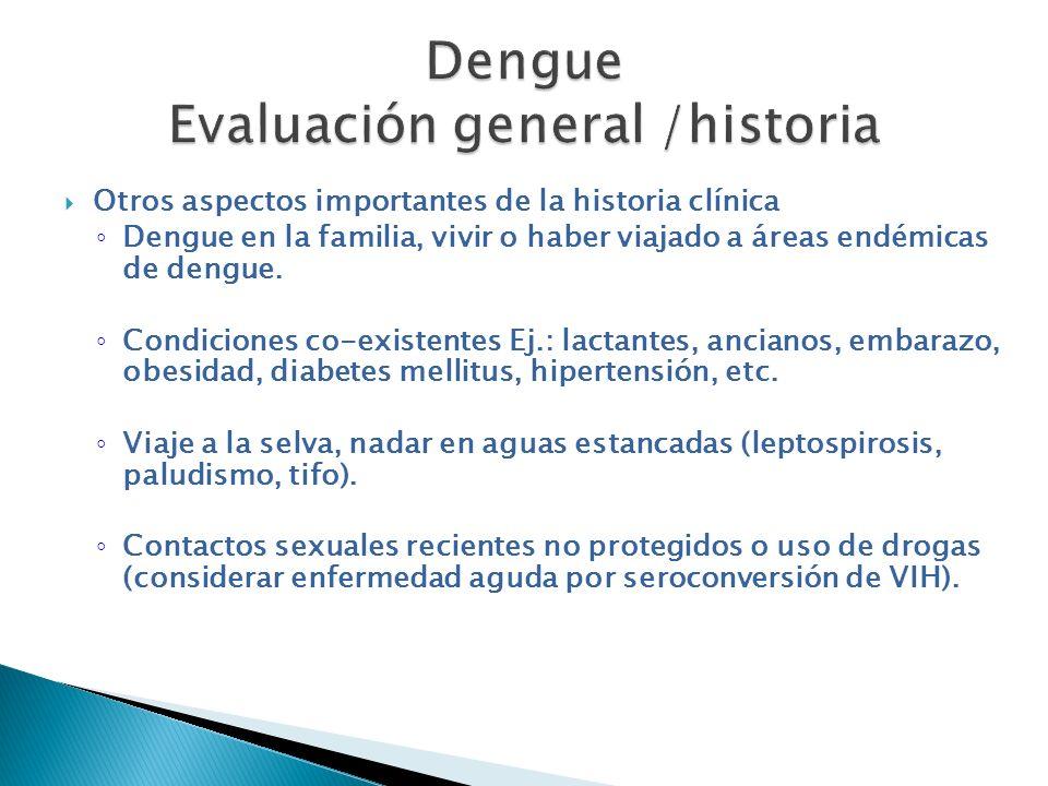 Otros aspectos importantes de la historia clínica Dengue en la familia, vivir o haber viajado a áreas endémicas de dengue. Condiciones co-existentes E