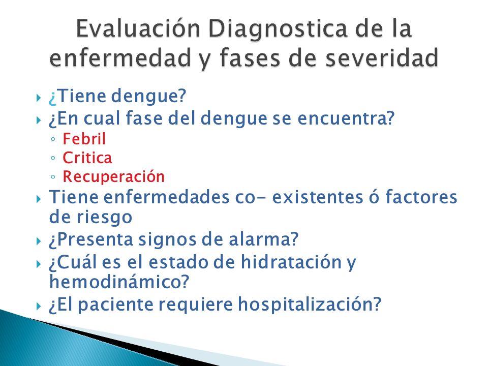 ¿Tiene dengue? ¿En cual fase del dengue se encuentra? Febril Critica Recuperación Tiene enfermedades co- existentes ó factores de riesgo ¿Presenta sig