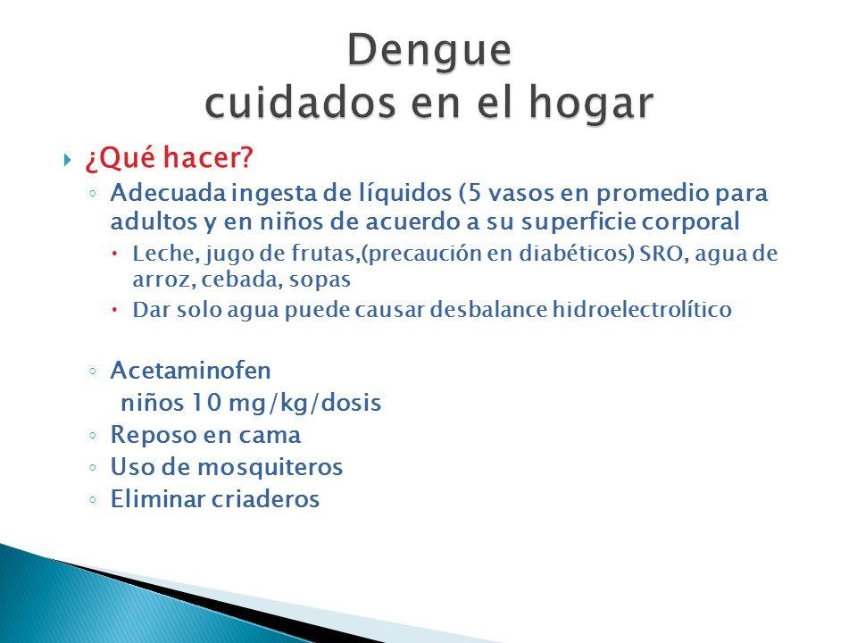 ¿Qué hacer? Adecuada ingesta de líquidos (5 vasos en promedio para adultos y en niños de acuerdo a su superficie corporal Leche, jugo de frutas,(preca